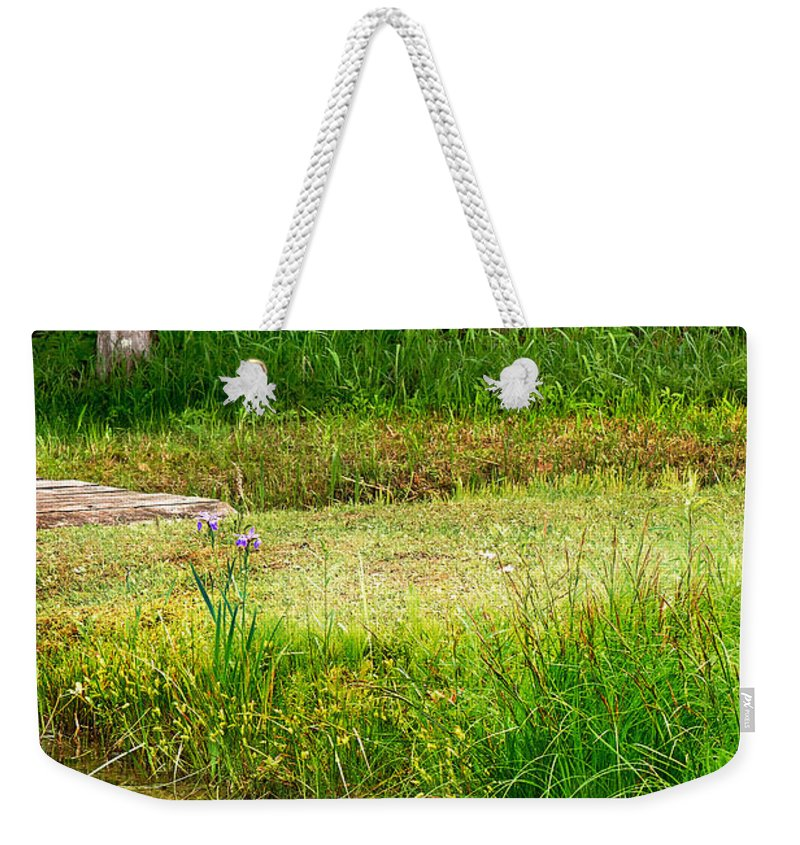 Water Reflections Weekender Tote Bag featuring the photograph Pond Landscape Print by Gwen Gibson