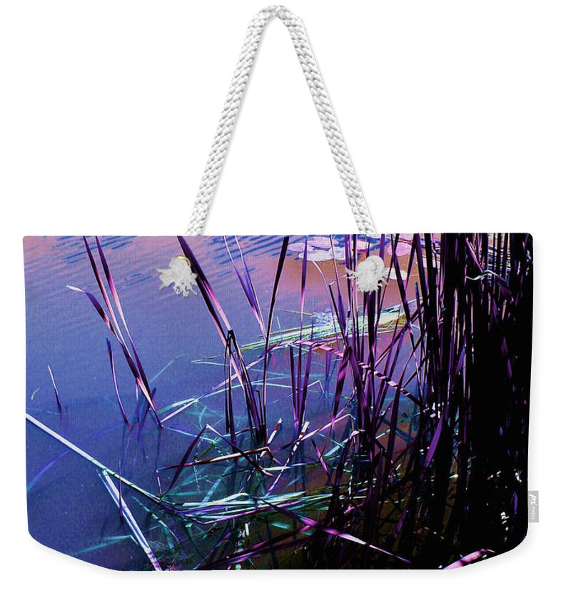 Reeds In Pond At Sunset Weekender Tote Bag featuring the photograph Pond Reeds At Sunset by Joanne Smoley