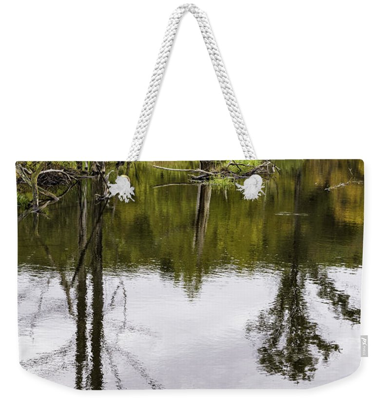 Pond Weekender Tote Bag featuring the photograph Pond Reflections by Fran Gallogly