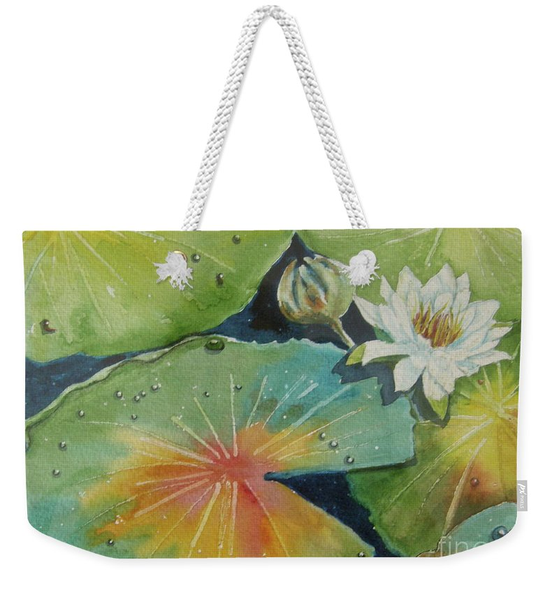 Waterlily Weekender Tote Bag featuring the painting Pond Water Lily by Midge Pippel