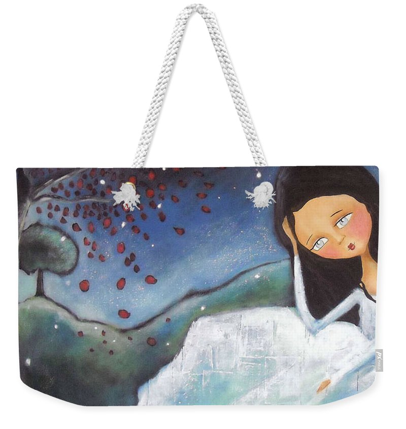 Girl Weekender Tote Bag featuring the painting Pondering by Patti Ballard