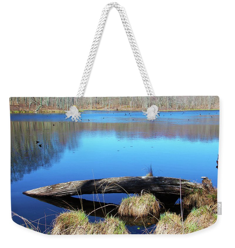 Photography Weekender Tote Bag featuring the photograph Pondside Log by Steven Scanlon