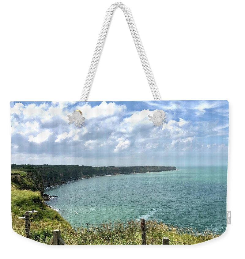 D-day Weekender Tote Bag featuring the photograph Pointe Du Hoc by Charles Kraus