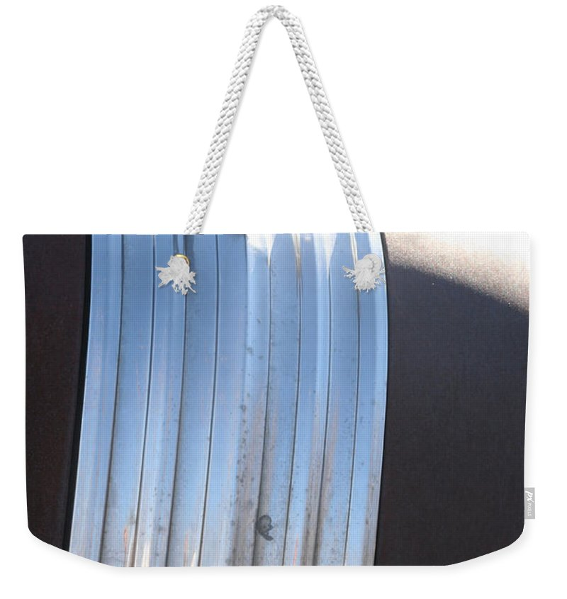 Old Antique Pontiac Car 1950s Hood Ornament Vehicle Weekender Tote Bag featuring the photograph Pontiac by Andrea Lawrence