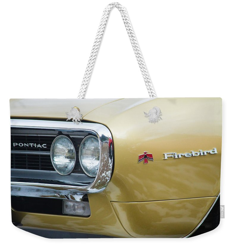 Automobiles Weekender Tote Bag featuring the photograph Pontiac Firebird Gold 1967 by James BO Insogna
