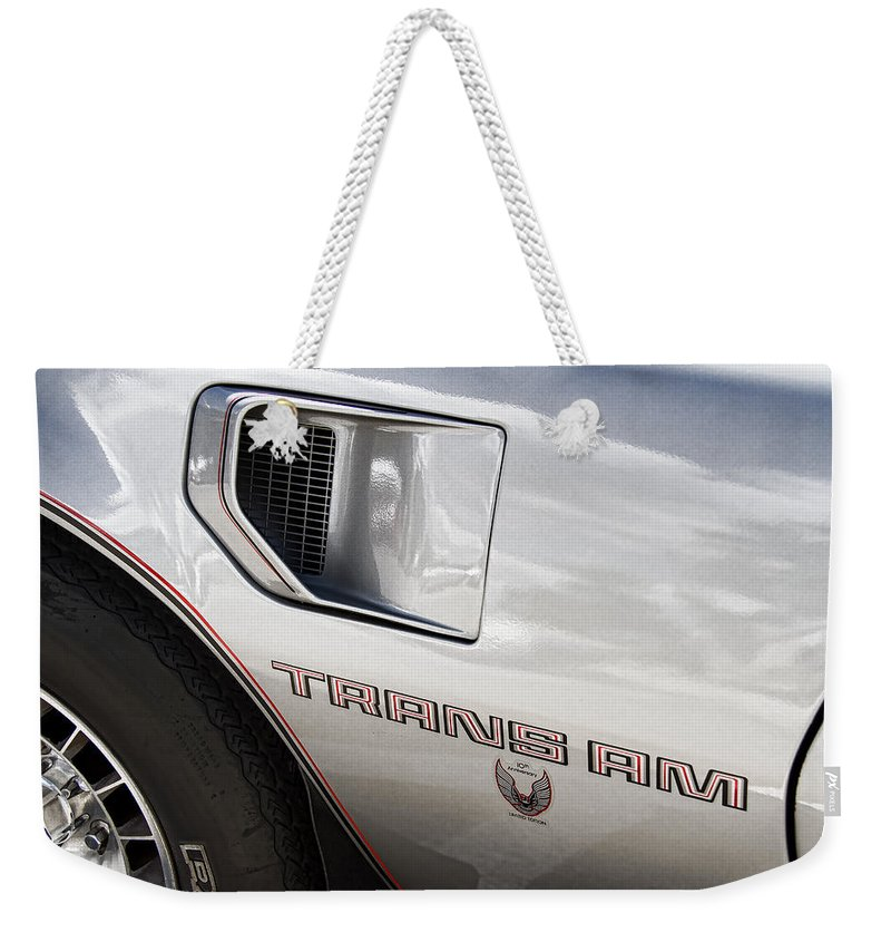 Pontiac Weekender Tote Bag featuring the photograph Pontiac Trans Am Limited Edition by Nick Gray