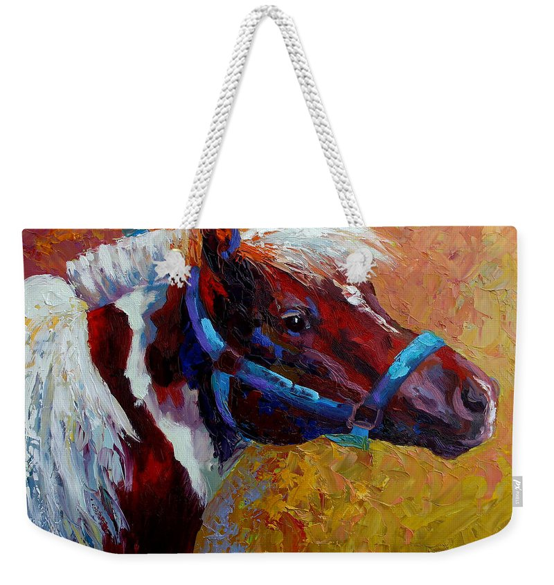 Western Weekender Tote Bag featuring the painting Pony Boy by Marion Rose