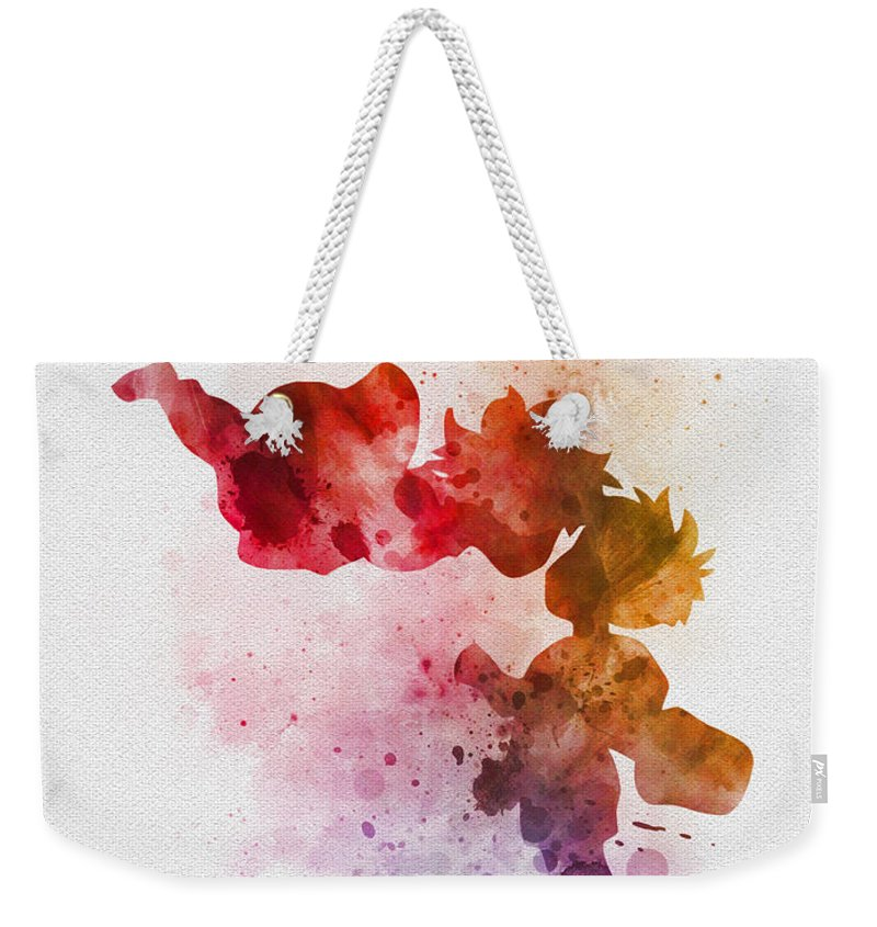 Ponyo Weekender Tote Bag featuring the mixed media Ponyo by Rebecca Jenkins