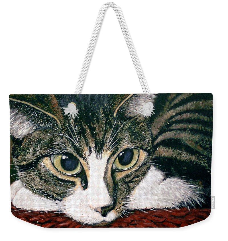 Cat Weekender Tote Bag featuring the painting Pooky by Arie Van der Wijst