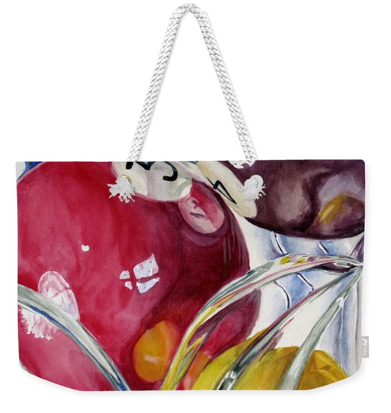 Still Life Weekender Tote Bag featuring the painting Pool Balls In A Vase by Karen Boudreaux