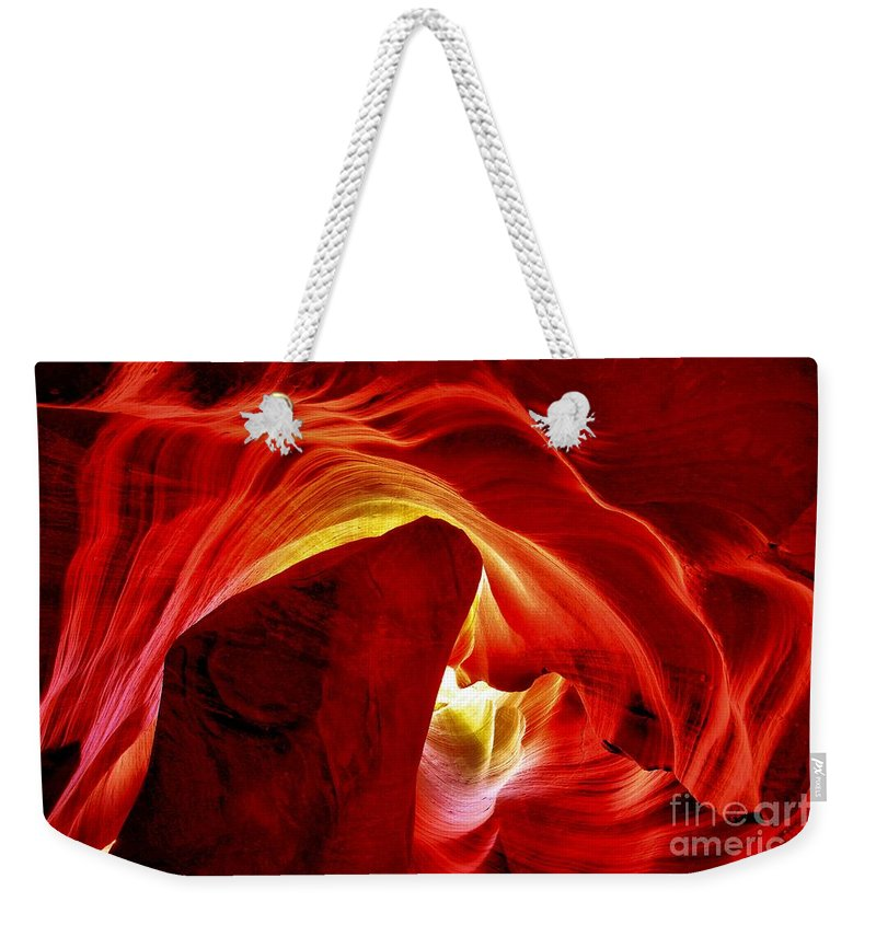 Abstract Weekender Tote Bag featuring the photograph Pool Of Fire by Adam Jewell