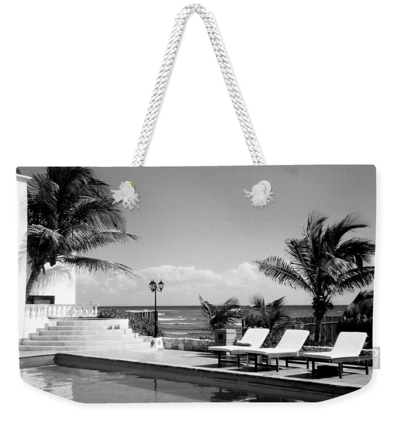 Swimming Pool Weekender Tote Bag featuring the photograph Poolside B-w by Anita Burgermeister