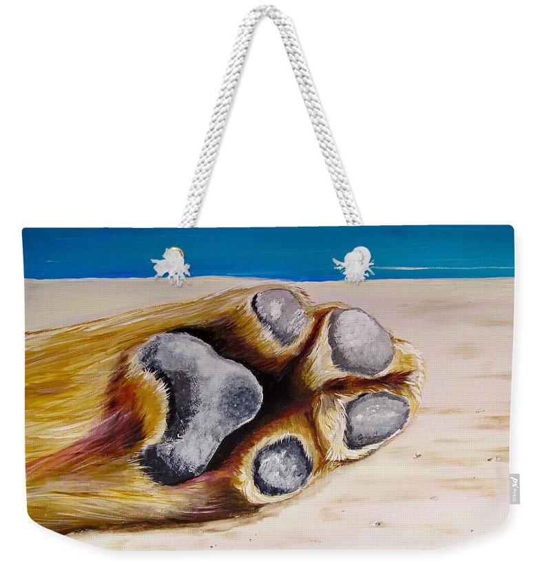 Dog Weekender Tote Bag featuring the painting Poolside by Carol Blackhurst
