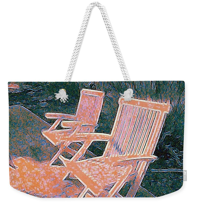 Deck Chairs Weekender Tote Bag featuring the digital art Poolside by Eliza Sans Souci McNally