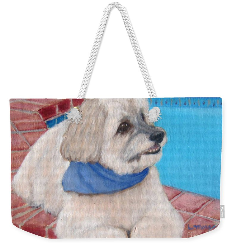 Dogs Weekender Tote Bag featuring the painting Poolside Puppy by Laurie Morgan