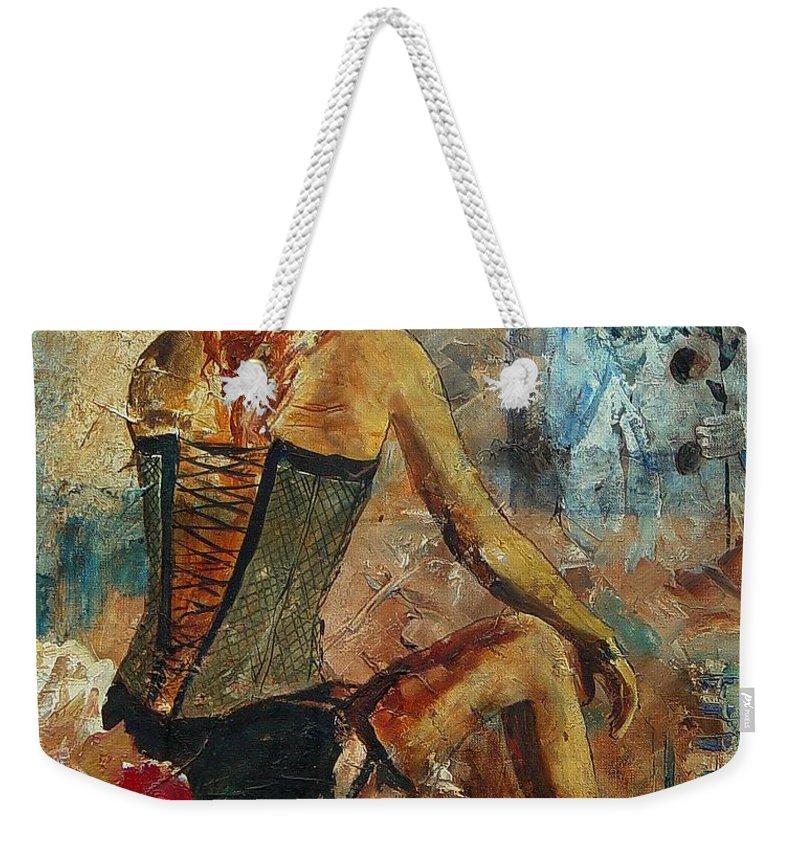 Girl Weekender Tote Bag featuring the painting Poor Pierrot by Pol Ledent