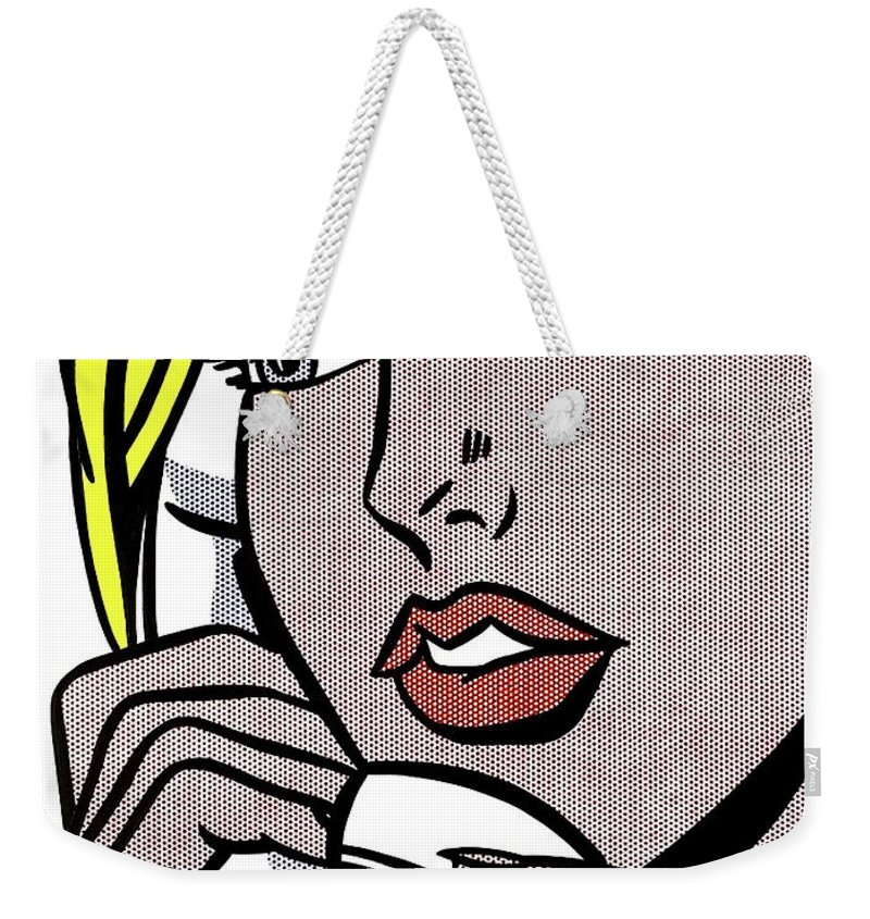 Pop Art Girl Weekender Tote Bag featuring the painting Pop Art Girl Talking  On The Phone c06e2a152c038