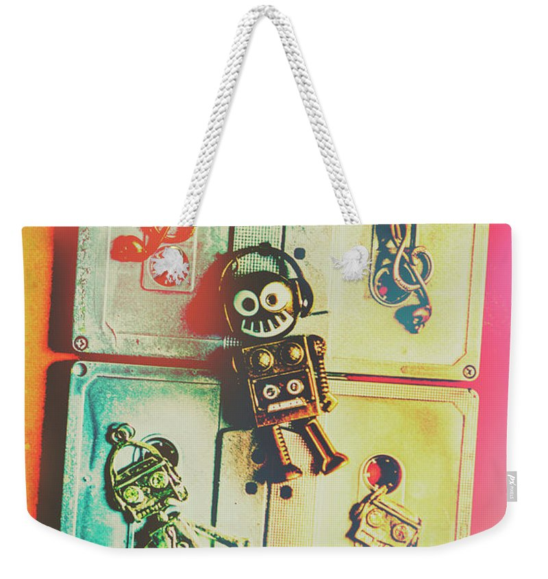 Pop Weekender Tote Bag featuring the photograph Pop Art Music Robot by Jorgo Photography - Wall Art Gallery