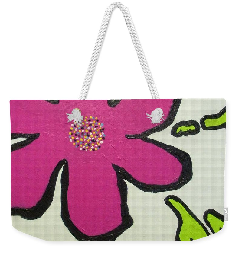Flower Weekender Tote Bag featuring the painting Pop Art Pansy by Maria Bonnier-Perez