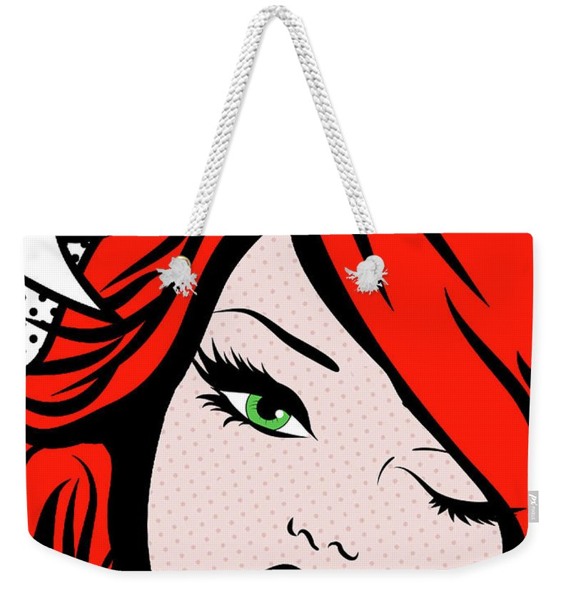 Pop Art Weekender Tote Bag featuring the painting Pop Art Redhead Girl With  Talk Bubble Say 8e455dcc130d0