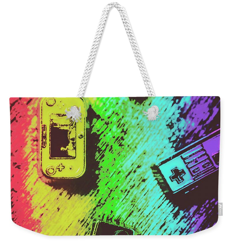 Retro Weekender Tote Bag featuring the photograph Pop Art Video Games by Jorgo Photography - Wall Art Gallery