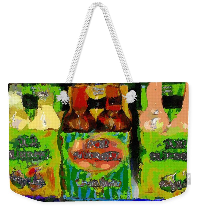 Bottles Weekender Tote Bag featuring the painting Pop Goes The Surrealism by RC DeWinter