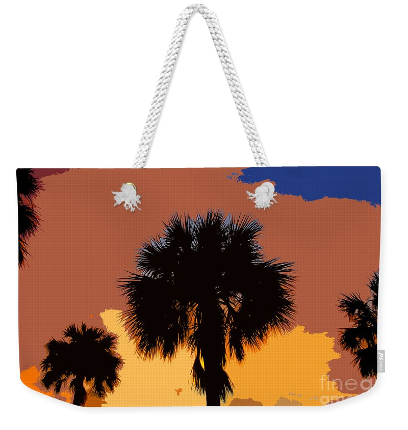 Palm Trees Weekender Tote Bag featuring the photograph Pop Palms by David Lee Thompson