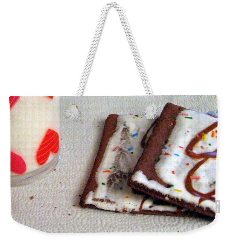 Pop Tarts Weekender Tote Bag featuring the photograph Pop Tarts And Milk by Amy Hosp
