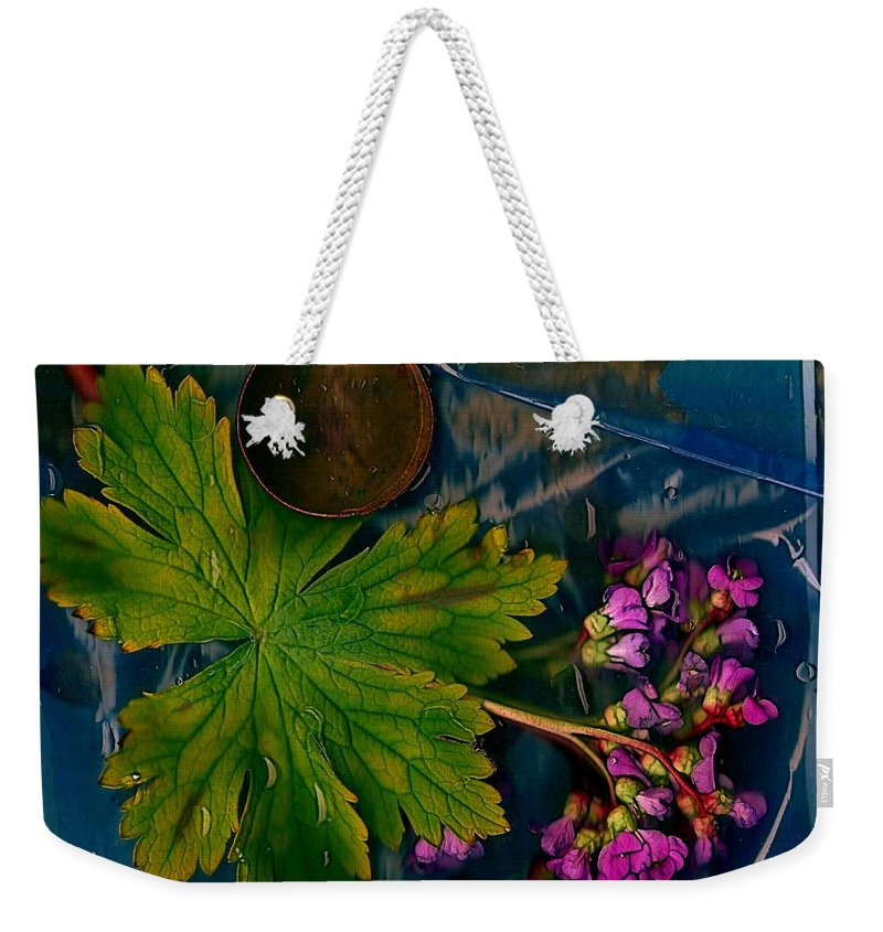 Water Weekender Tote Bag featuring the mixed media Popart With Fantasy Flowers by Pepita Selles