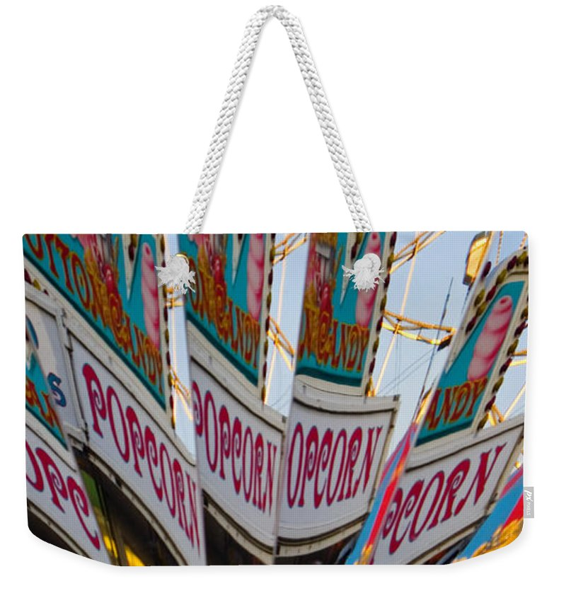 Concession Stand Weekender Tote Bag featuring the photograph Popcorn by Skip Hunt