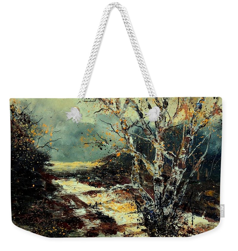 Tree Weekender Tote Bag featuring the painting Poplars 45 by Pol Ledent