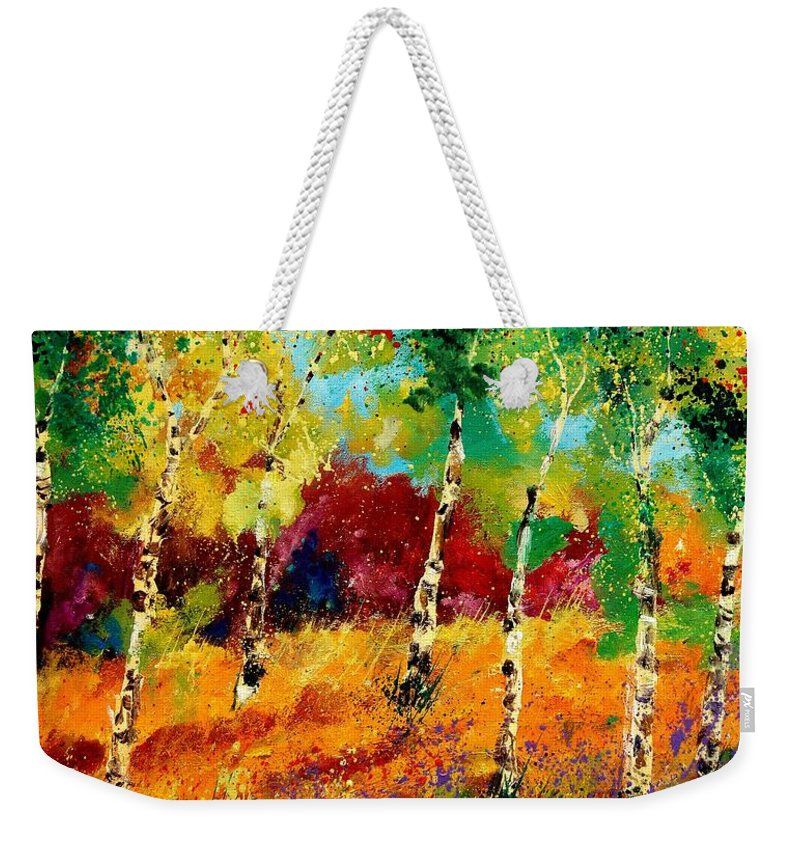 Poppy Weekender Tote Bag featuring the painting Poplars '459070 by Pol Ledent