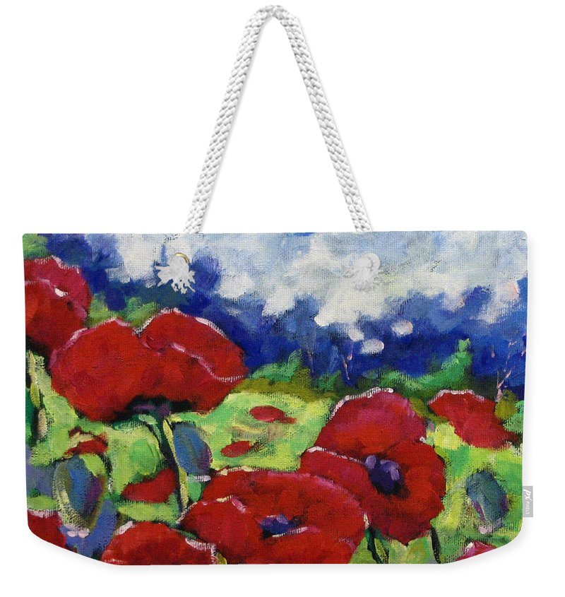 Art Weekender Tote Bag featuring the painting Poppies 003 by Richard T Pranke