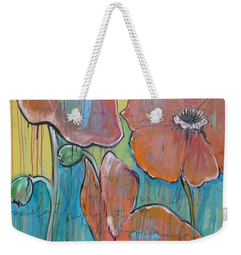 Pop Art Weekender Tote Bag featuring the painting Poppies 3 by Laurie Maves ART