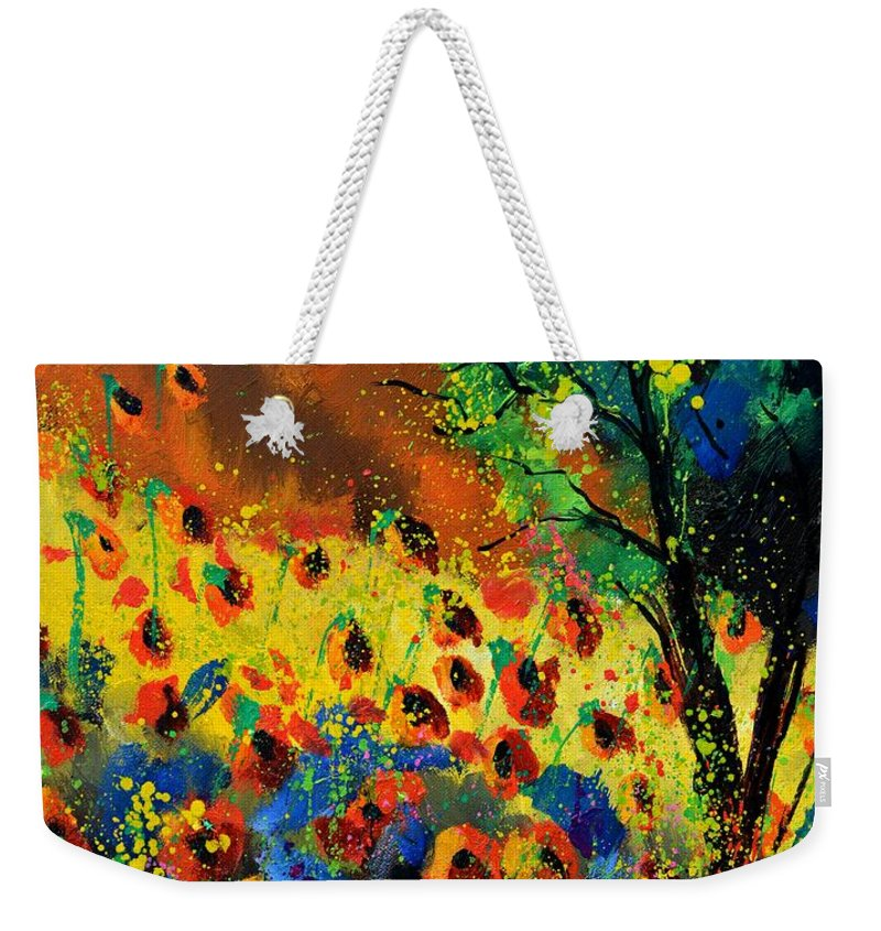 Poppies Weekender Tote Bag featuring the painting Poppies 456150 by Pol Ledent