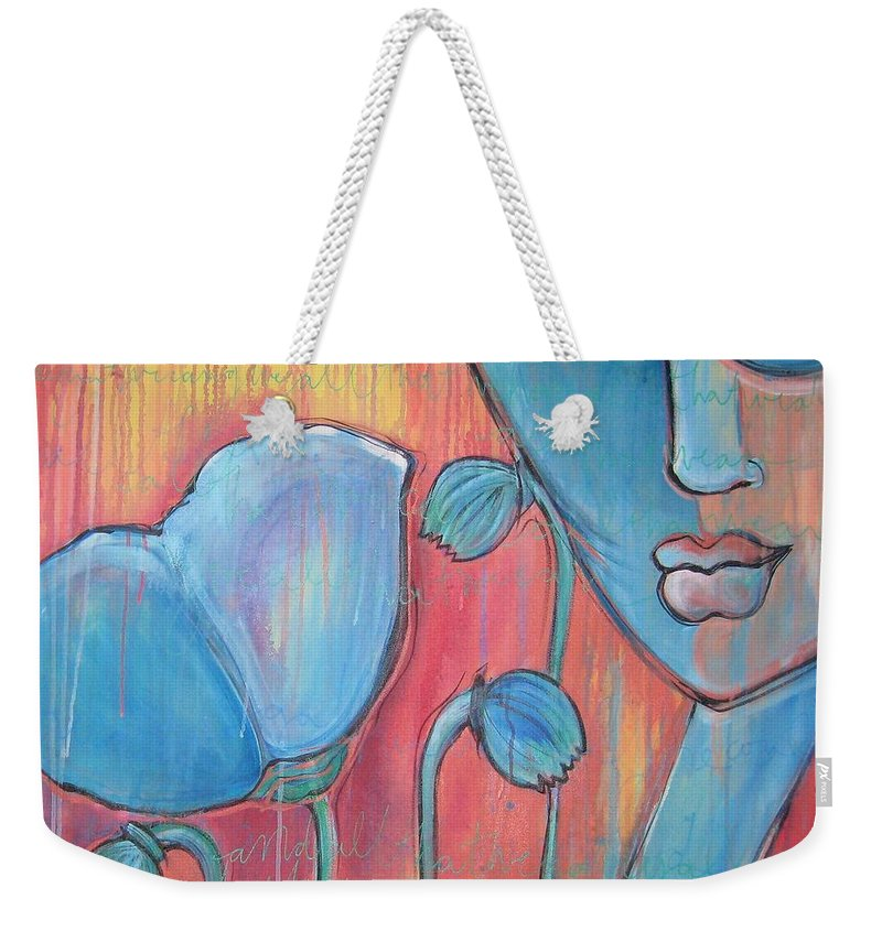 Pop Art Weekender Tote Bag featuring the painting Poppies 7 Luna Let Me Go by Laurie Maves ART
