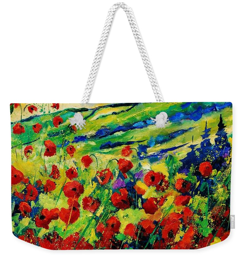 Flowers Weekender Tote Bag featuring the painting Poppies 78 by Pol Ledent