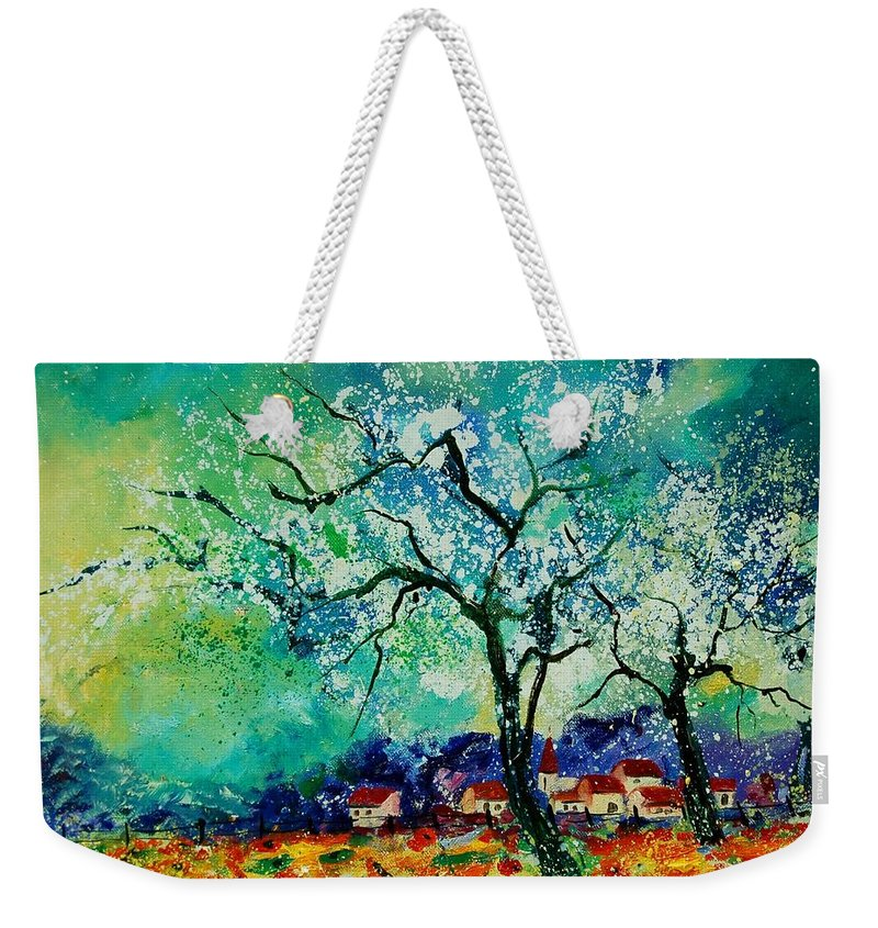 Landscape Weekender Tote Bag featuring the painting Poppies And Appletrees In Blossom by Pol Ledent