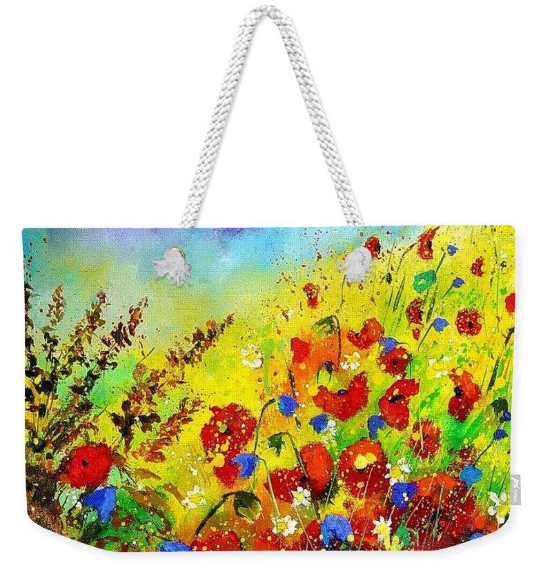 Poppies Weekender Tote Bag featuring the print Poppies And Blue Bells by Pol Ledent