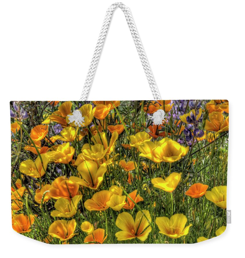 Poppy Weekender Tote Bag featuring the photograph Poppies And Lupines by Jim And Emily Bush
