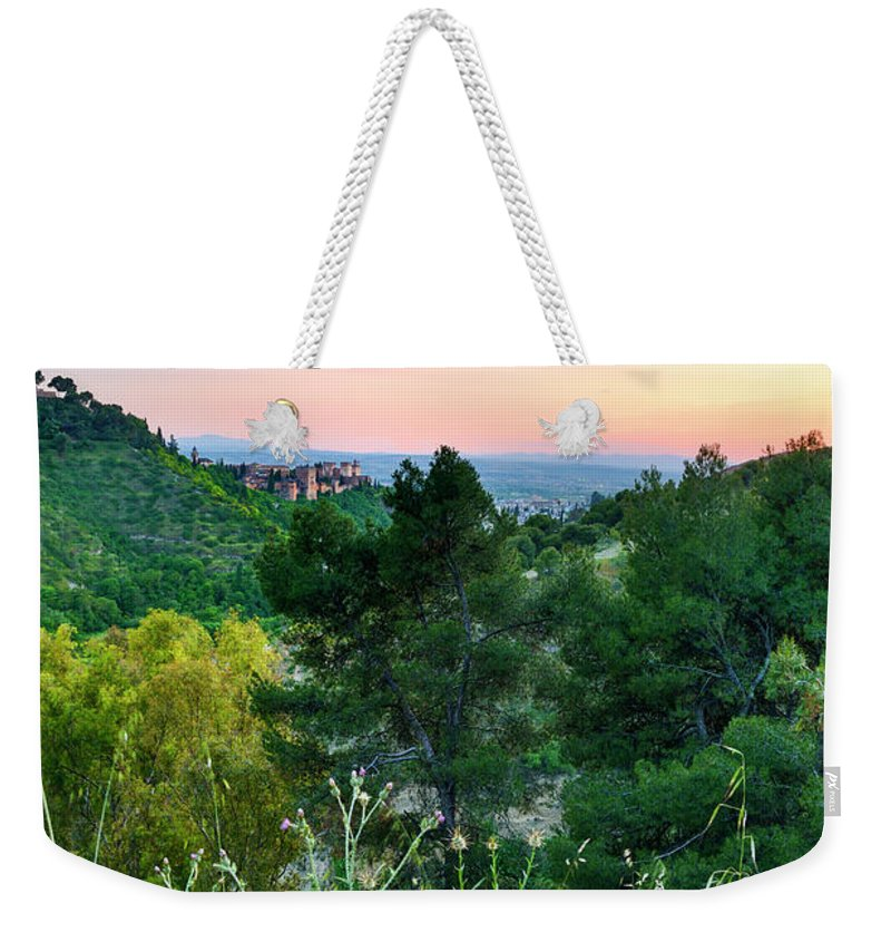 Poppies Weekender Tote Bag featuring the photograph Poppies And The Alhambra Palace by Guido Montanes Castillo