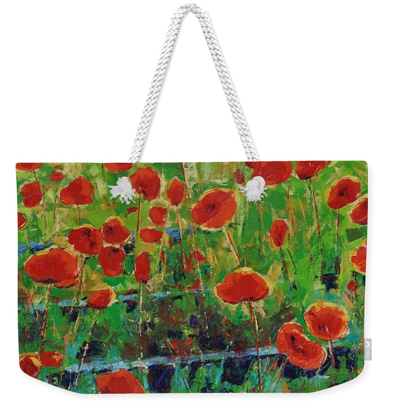 Poppies Weekender Tote Bag featuring the painting Poppies And Traverses 1 by Iliyan Bozhanov