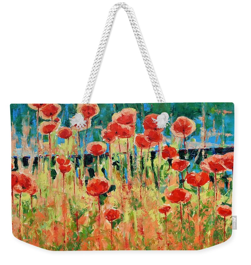 Poppies Weekender Tote Bag featuring the painting Poppies And Traverses 2 by Iliyan Bozhanov