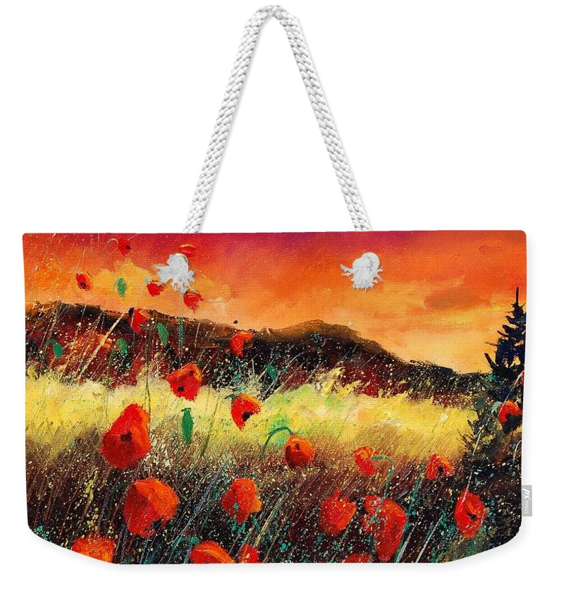 Poppies Weekender Tote Bag featuring the painting Poppies At Sunset 67 by Pol Ledent