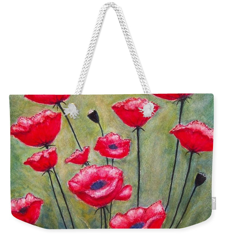 Poppies Weekender Tote Bag featuring the painting Poppies Field by Judith Monette