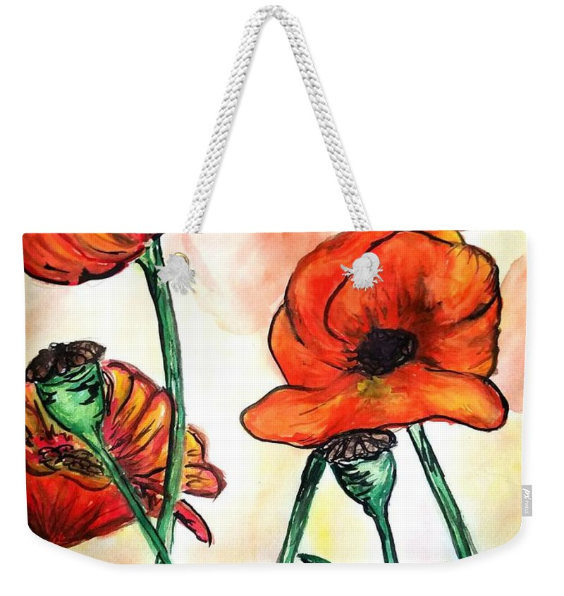 Flowers Poppies Weekender Tote Bag featuring the painting Poppies by Ginette Kenyon