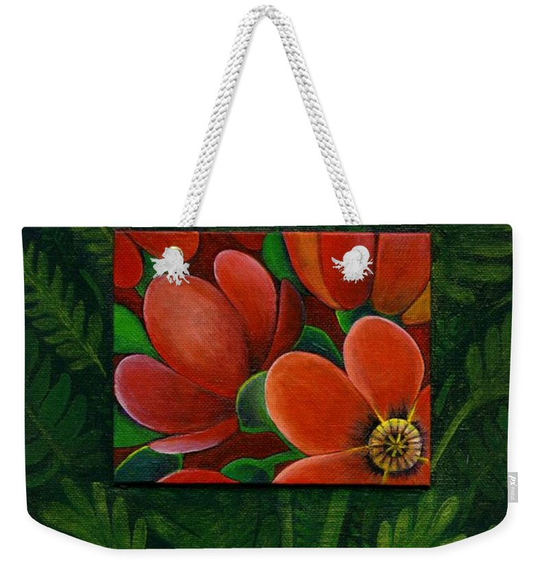 Poppy Weekender Tote Bag featuring the painting Poppies by Helena Tiainen
