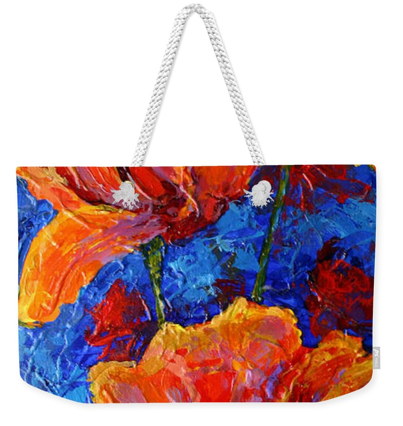 Poppies Weekender Tote Bag featuring the painting Poppies II by Marion Rose