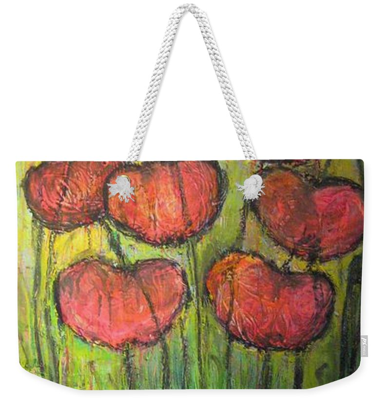 Poppies Weekender Tote Bag featuring the painting Poppies In Oil by Laurie Maves ART
