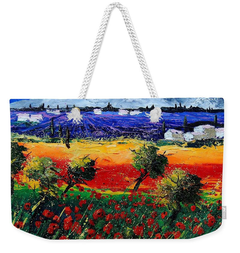 Poppy Weekender Tote Bag featuring the painting Poppies In Provence by Pol Ledent